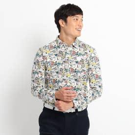 ゴルフモチーフグラフィック長袖ポロシャツ 吸湿発熱 (ブラウン)