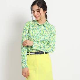 【吸水速乾/UVカット】小花柄長袖ポロシャツ (グリーン)