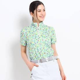 【吸水速乾/UVカット】フラワープリント半袖ハーフジップシャツ (ホワイト)