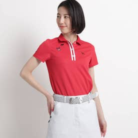 【吸水速乾/UVカット/遮熱】バックデザイン半袖ポロシャツ (レッド)