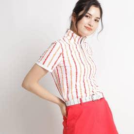 【UVカット/防透け】手書きタッチストライプ半袖ポロシャツ (ホワイト×オレンジ系)