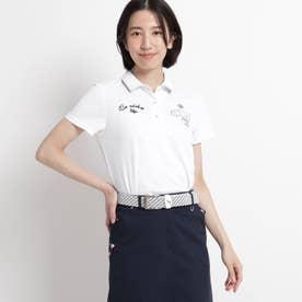 【吸水速乾/UVカット/遮熱】ロゴ刺しゅう半袖ポロシャツ (ホワイト)