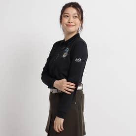 【吸水速乾/UVカット】ロゴ刺しゅう長袖ポロシャツ (ブラック)