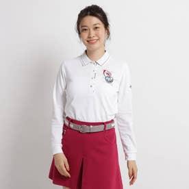 【吸水速乾/UVカット】ロゴ刺しゅう長袖ポロシャツ (ホワイト)