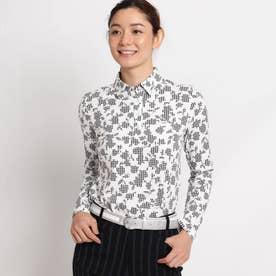 【吸湿発熱】ボタニカル柄長袖ポロシャツ (ホワイト)