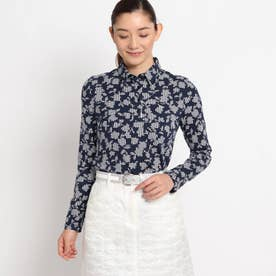 【吸湿発熱】ボタニカル柄長袖ポロシャツ (ネイビー)