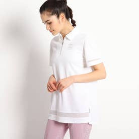 【遮熱効果/吸水速乾/UVカット】 チュニック丈半袖ポロシャツ (ホワイト)