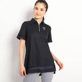【遮熱効果/吸水速乾/UVカット】 チュニック丈半袖ポロシャツ (ブラック)