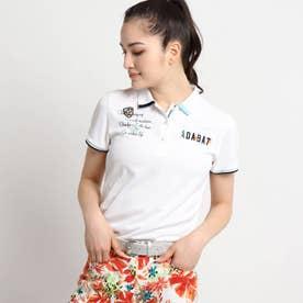 【coolcore(クールコア)/UVカット】ロゴモチーフ刺しゅう半袖ポロシャツ (ホワイト)