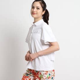 【UVカット/防透け】 ティアードフリル半袖ポロシャツ (ホワイト)