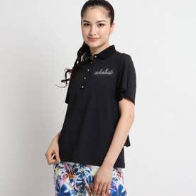 【UVカット/防透け】 ティアードフリル半袖ポロシャツ (ブラック)