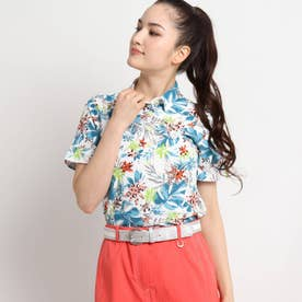 【UVカット/防透け】トロピカルフラワー柄半袖ポロシャツ (グリーン)