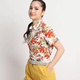 【UVカット/防透け】トロピカルフラワー柄半袖ポロシャツ (オレンジ)