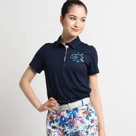 【coolcore(クールコア)/UVカット】襟裏トロピカルフラワーデザイン半袖ポロシャツ (ネイビー)