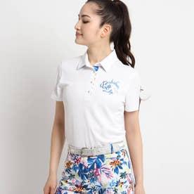 【coolcore(クールコア)/UVカット】襟裏トロピカルフラワーデザイン半袖ポロシャツ (ホワイト)