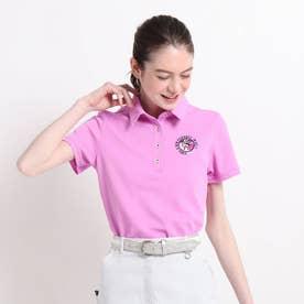 【吸水速乾/UVカット】襟裏デザイン半袖ポロシャツ (ピンク)