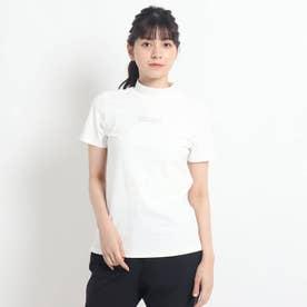 【セミフレアシルエット】 モックネック半袖プルオーバー (ホワイト)