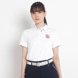 【吸水速乾/UVカット】襟裏デザイン半袖ポロシャツ (ホワイト)