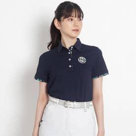 【吸水速乾/UVカット】襟裏デザイン半袖ポロシャツ (ネイビー)