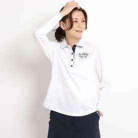 【吸水速乾/UVカット】ミラノリブ 長袖ポロシャツ (ホワイト)