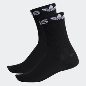 リニア カフ クルーソックス 2足組み [Linear Cuff Crew Socks 2 Pairs] (ブラック)