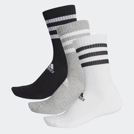 スリーストライプス クッション クルー ソックス 3足組み [3-Stripes Cushioned Crew Socks 3 Pairs] (グレー)