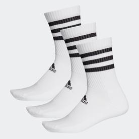 スリーストライプス クッション クルー ソックス 3足組み [3-Stripes Cushioned Crew Socks 3 Pairs] (ホワイト)