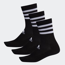 スリーストライプス クッション クルー ソックス 3足組み [3-Stripes Cushioned Crew Socks 3 Pairs] (ブラック)