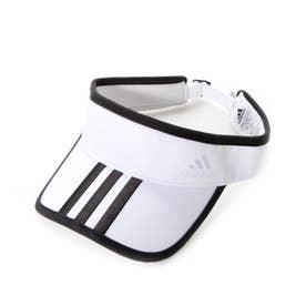 レディース ゴルフ サンバイザー ウィメンズ スリーストライプツイルバイザー GL8769 (ホワイト)