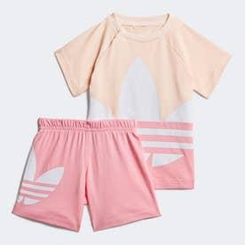 ラージ トレフォイル ショーツ & Tシャツセット (ピンク)