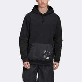 ウーブン ポケットパーカー / Woven Pocket Hoodie (ブラック)