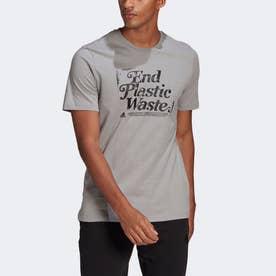 スローガン リサイクルコットン グラフィック 半袖Tシャツ / Slogan Recycled Cotton Graphic Tee (グレー)