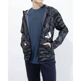 メンズ ウインドジャケット MFREELIFTCAMO3BARフルジップフーディ GL8926 (ブラック)