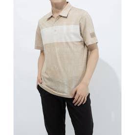 メンズ ゴルフ 半袖シャツ ADICROSS デザートプリント 半袖シャツ GL2418 (ベージュ)