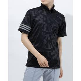メンズ ゴルフ 半袖シャツ エンボスプリント 半袖ボタンダウンシャツ GM3663 (ブラック)