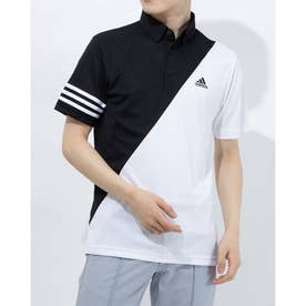 メンズ ゴルフ 半袖シャツ スリーストライプス カラーブロック 半袖ボタンダウンシャツ GM3659 (ブラック)
