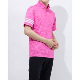 メンズ ゴルフ 半袖シャツ エンボスプリント 半袖ボタンダウンシャツ GM3666 (ピンク)