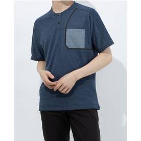 メンズ ゴルフ 半袖シャツ フロントポケット 半袖ヘンリーネックTシャツ GM0822 (ネイビー)