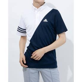 メンズ ゴルフ 半袖シャツ スリーストライプス カラーブロック 半袖ボタンダウンシャツ GM3658 (ホワイト)