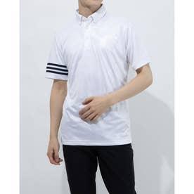 メンズ ゴルフ 半袖シャツ エンボスプリント 半袖ボタンダウンシャツ GM3661 (ホワイト)