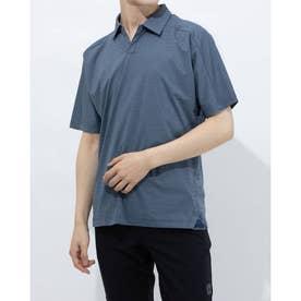 メンズ ゴルフ 半袖シャツ ソリッド 半袖スキッパーシャツ GM0827 (ネイビー)