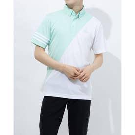 メンズ ゴルフ 半袖シャツ スリーストライプス カラーブロック 半袖ボタンダウンシャツ GM3660 (グリーン)