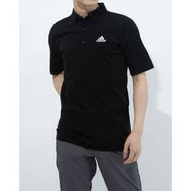 メンズ ゴルフ 半袖シャツ ジャカードスリーストライプス 半袖セーターポロ GM3603 (ブラック)