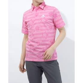 メンズ ゴルフ 半袖シャツ フラワープリント 半袖シャツ GM0855 (ピンク)