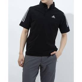 メンズ ゴルフ 半袖シャツ スリーブストライプス 半袖ストレッチボタンダウンシャツ GM3613 (ブラック)