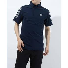 メンズ ゴルフ 半袖シャツ スリーブストライプス 半袖ストレッチボタンダウンシャツ GM3612 (ネイビー)