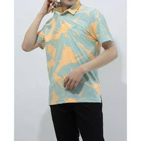 メンズ ゴルフ 半袖シャツ ボタニカルプリント 半袖シャツ GM0249 (オレンジ)