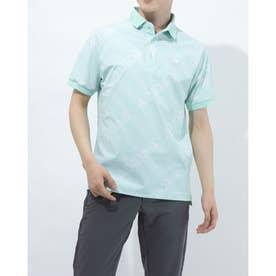 メンズ ゴルフ 半袖シャツ ジオメトリックプリント 半袖ポロ GM0846 (グリーン)