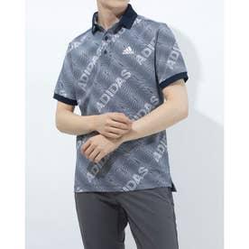 メンズ ゴルフ 半袖シャツ ジオメトリックプリント 半袖ポロ GM0843 (ネイビー)