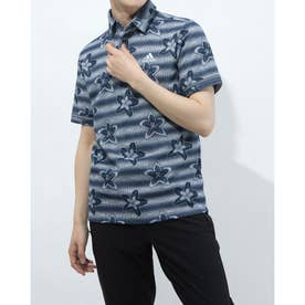 メンズ ゴルフ 半袖シャツ フラワープリント 半袖シャツ GM0854 (ネイビー)